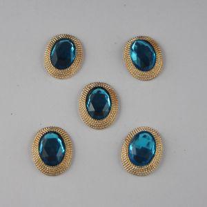 Кабошон со стразами, овал, цвет основы: золото, цвет стразы: голубой, размер: 21х16мм (1уп = 10шт)