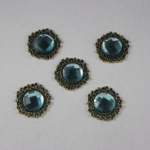Кабошон со стразами, круглый, цвет основы: медь, цвет стразы: голубой, размер: 23мм (1уп = 10шт)