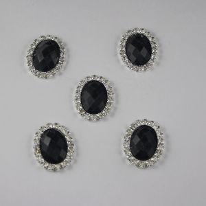 `Кабошон со стразами, овал, цвет основы: серебро, цвет стразы: мрамор, черный, размер: 25х19мм