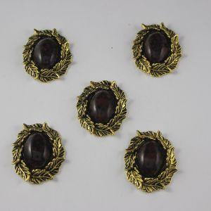`Кабошон со стразами, овал, листики, цвет основы: медь, цвет стразы: мрамор, темно-коричневый, размер: 31х25мм
