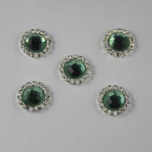 `Кабошон со стразами, круглый, цвет основы: серебро, цвет стразы: светло-зеленый, размер: 16мм