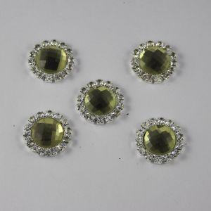 `Кабошон со стразами, круглый, цвет основы: серебро, цвет стразы: светлый оливковый, размер: 18мм