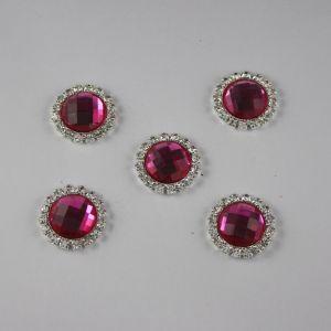 `Кабошон со стразами, круглый, цвет основы: серебро, цвет стразы: ярко-розовый, размер: 21мм