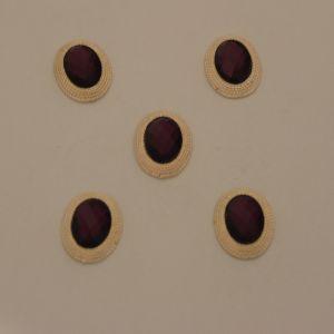 `Кабошон со стразами, овал, цвет основы: золото, цвет стразы: фиолетовый, размер: 21х16мм, Арт. Р-КБС0277