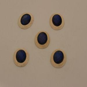 `Кабошон со стразами, овал, цвет основы: золото, цвет стразы: темно-синий, размер: 21х16мм