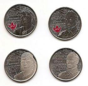 Война 1812 года Набор монет 25 центов Канада 2012 (4 монеты)