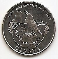 100 лет провинции Саскачеван 25 центов Канада 2005