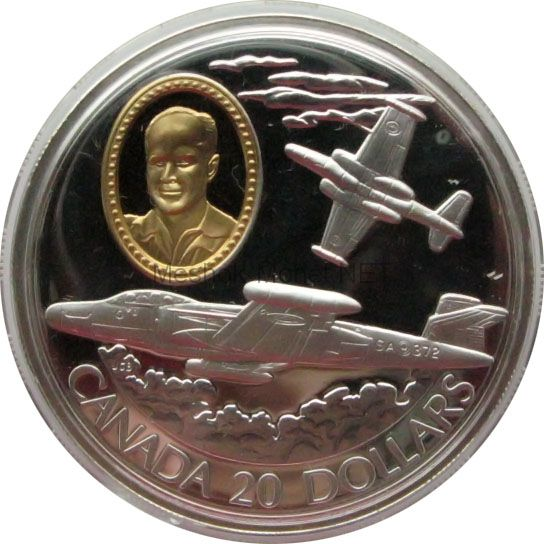 Канада 20 долларов 1996 г. Герои авиации. CF-100 Cannuck