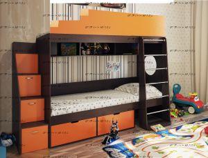 Кровать двухъярусная Милана-2.2 (с лестницей-комодом)