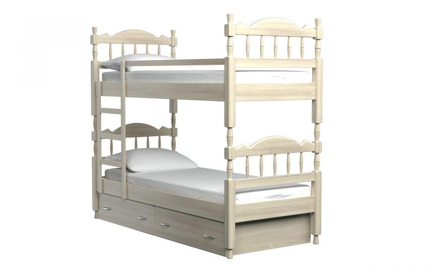 Детская кровать Юниор 2-х ярусная (массив ясеня) | DreamLine