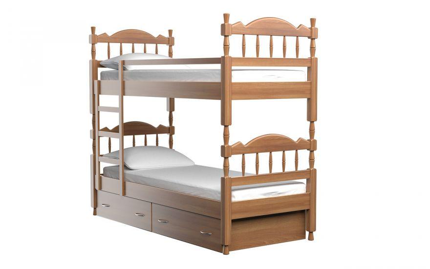 Детская кровать Юниор 2-х ярусная (массив бука) | DreamLine