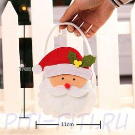 Сумочка из фетра Дед Мороз белый
