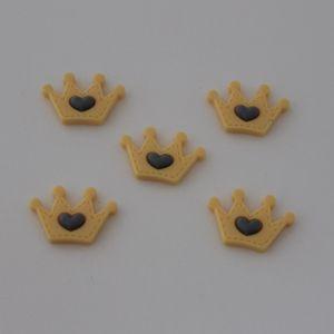 """Кабошон, пластик, """"Корона"""", цвет: желтый, размер: 35х24мм (1уп=50шт)"""