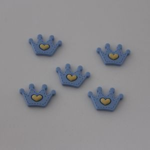 "Кабошон, пластик, ""Корона"", цвет: голубой, размер: 35х24мм (1уп=50шт)"