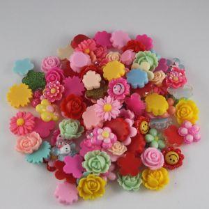 Кабошон, пластик, МИКС, Цветочки, размер: 16-22мм (1уп=50шт), Арт. КБП0277