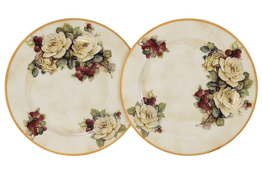 """Набор из 2-х десертных тарелок """"Роза и малина"""", 20.5 см"""