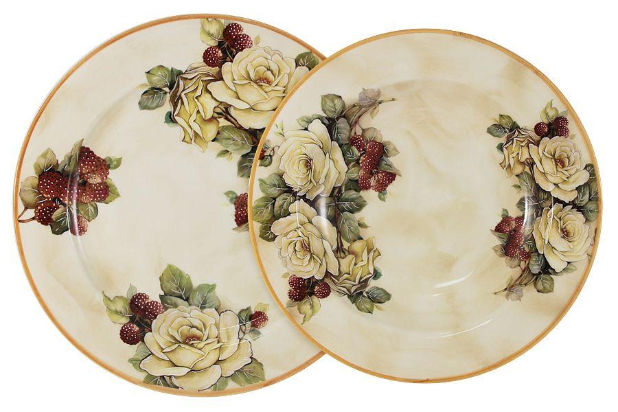 """Набор тарелок: суповая + обеденная """"Роза и малина"""", 23.5/25 см"""