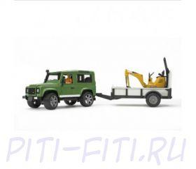 Bruder Брудер Внедорожник Land Rover Defender c прицепом и экскаватором 8010 CTS