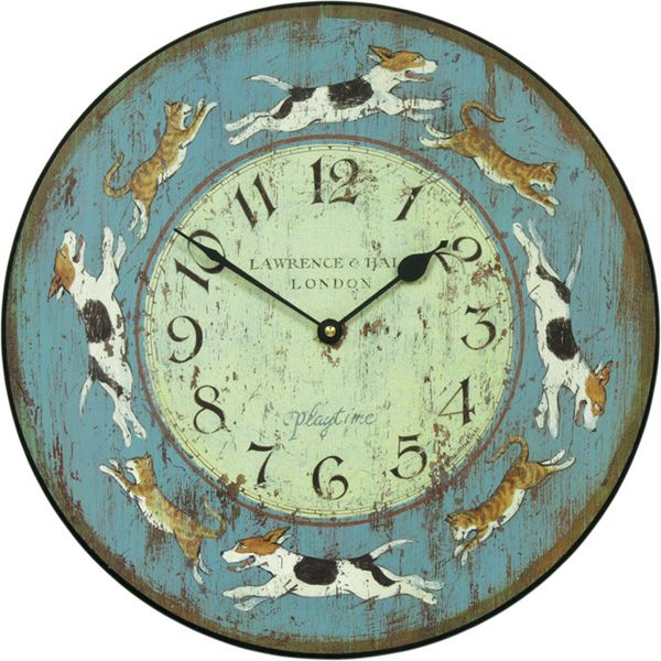 Часы с изображением собак и кошек