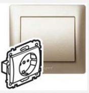 Силовая розетка 2К+З с лицнвой панелью Titanium/Титан  (арт.771462)