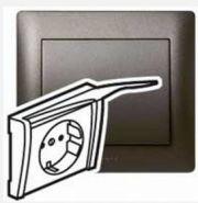 Силовая розетка 2К+Зт с защ. шт. и кр. Dark Bronze/Темная бронза (арт.771264)