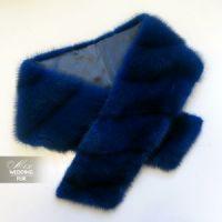 Меховой норковый шарф синего цвета