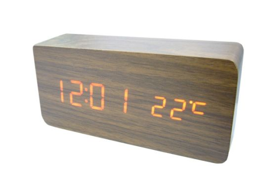 Часы эл. VST862-1 + радио крас.цифры (ТЕМНО-коричневый)