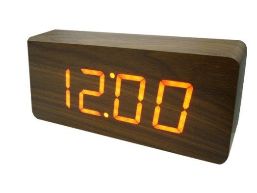 Часы эл. VST865-1 + радио крас.цифры (ТЁМНО-коричневый)