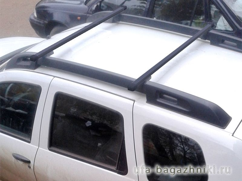 Багажник на крышу Renault Duster 2, Vamer, стальные прямоугольные дуги на рейлинги