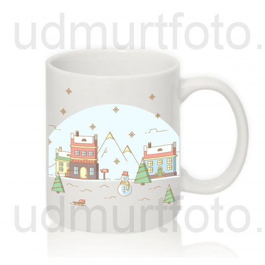 """Кружка белая """"Рождественский пейзаж 3"""""""