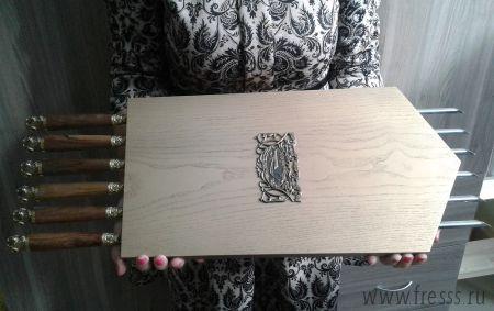 Панно с шампурами охотничье тонированное, ручки дерево, литье