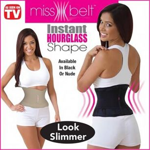 Пояс Miss Belt Мисс Белт цвет телесный, черный, размер S/ L/XL