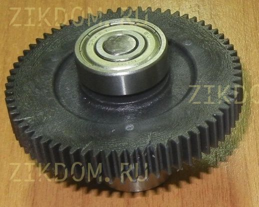 Шестерня мясорубки Хозяюшка черная D=72 мм + подшипник
