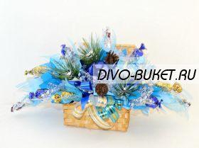 """Новогодний букет из конфет №657 """"Зимний лучик"""""""