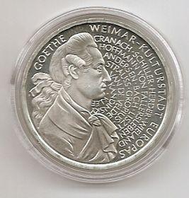 250 лет со дня рождения Иоганна Вольфганга фон Гете 10 марок ФРГ 1996 F PROOF