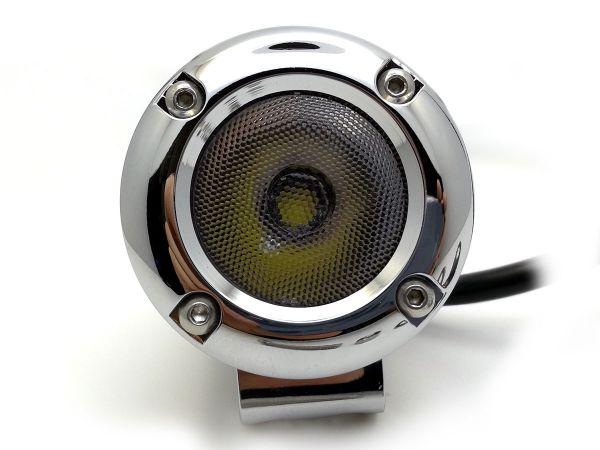 Круглая светодиодная LED фара рабочего света 10W CREE (хром)