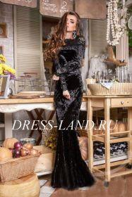 Черное велюровое платье в пол