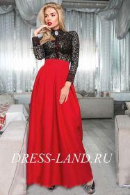 Черно-красное платье в пол с длинными рукавами