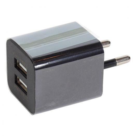 Вилка 2 USB квадрат (2.1A / 1A) черный
