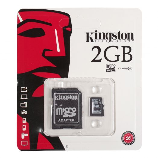 Карта памяти microSD 2 Gb Kingston (с адаптером SD)