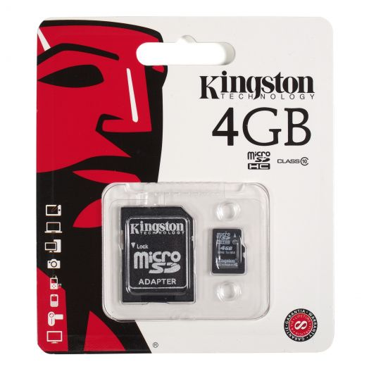 Карта памяти microSD 4 Gb Kingston 4 class (с адаптером SD)
