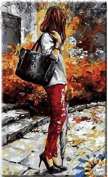 """Раскраска по номерам """"Девушка с зонтиком"""""""