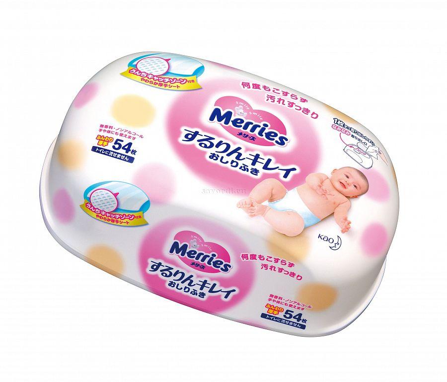 MERRIES Влажные мягкие салфетки, пластиковый контейнер, 54 шт