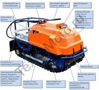 Барс Следопыт М 13 Е (СП) переднеприводный буксировщик с двигателем MTR мощностью 13 л. с., склизовая подвеска, вариатор Safari, агрессивная гусеница с увеличенным протектором и электростартером