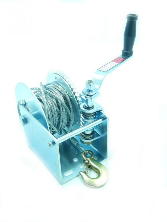 Лебедка ручная барабанная стационарная с тормозным механизмом 900кг (стальной трос 6мм*6м, 1 крюк)
