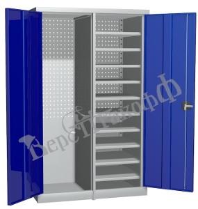 Металлический инструментальный шкаф PROFFI с перегородкой, 10 полок.