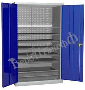 Металлический инструментальный шкаф PROFFI (без перегородки), 6 полок+2 ящика.