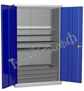 Металлический инструментальный шкаф PROFFI (без перегородки), 4 полки+3 ящика.