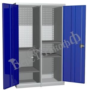 Металлический инструментальный шкаф PROFFI с перегородкой, 4 полки.