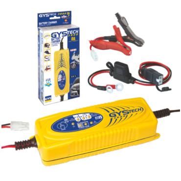 GYSTECH 3800 12 В, 70 Вт. Компактный и легкий создан для зарядки или автоматической подпитки аккумуляторов 12 В на жидком свинцовом или глеевом электролите. Для мотоциклов существует специальный соединительный кабель, который наглухо подключается к шасси
